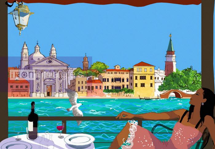 Woman relaxing on cafe terrace in Venice - Jan Bowman