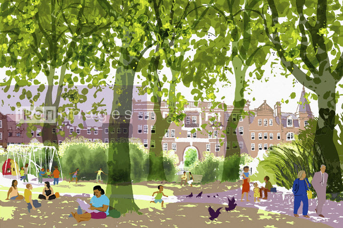 Lots of people enjoying being in the park in summer - Jan Bowman