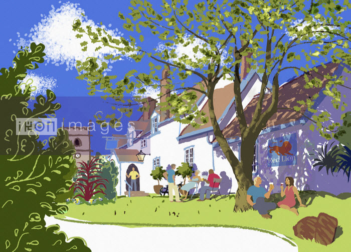 People drinking outside village pub - Jan Bowman