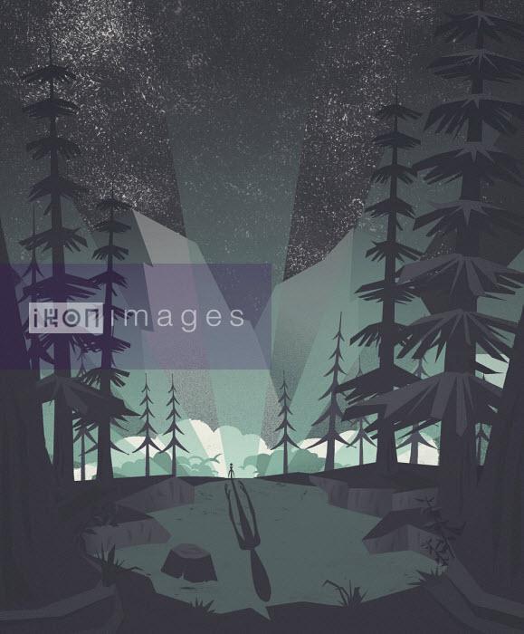 Ominous shadow of alien in forest - Josh Patterson