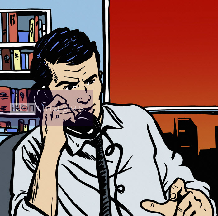 Businessman in office on telephone - Jacquie Boyd