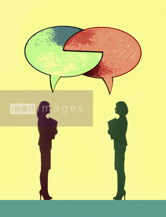 Two businesswomen with interlocking speech bubbles - Gary Waters