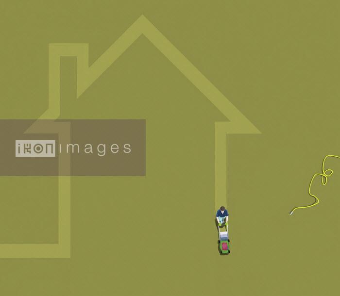 Man mowing house shaped stripe in lawn - Gary Waters
