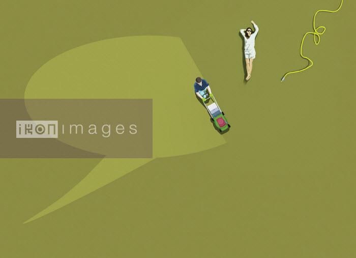 Man mowing speech bubble shape in lawn - Gary Waters