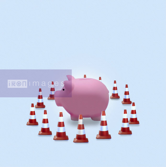 Piggy bank surrounded by traffic cones - Gary Waters
