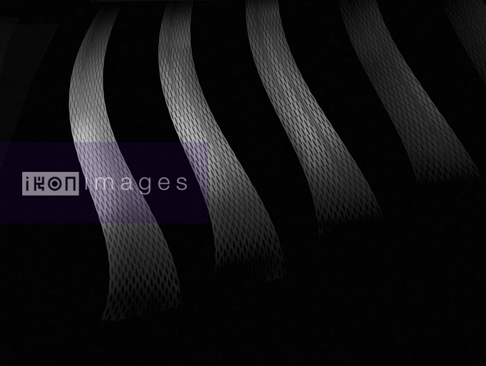 Abstract monochrome curved mesh stripes - Gary Waters