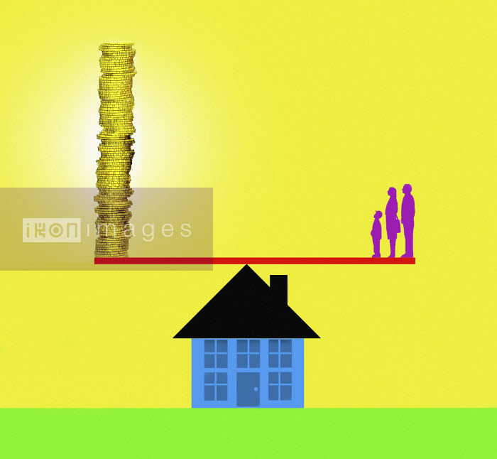 Family on house seesaw opposite pile of money - Gary Waters