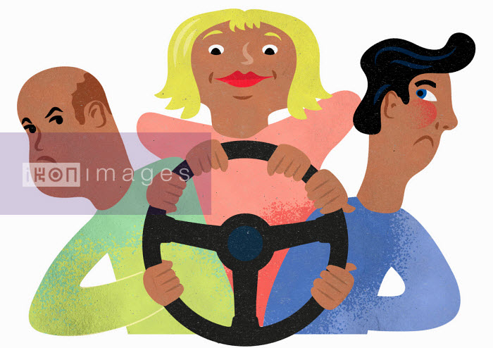 Woman taking charge of steering wheel from men - Jens Magnusson