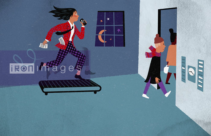 Frantic working mother on treadmill as children leave for school - Jens Magnusson