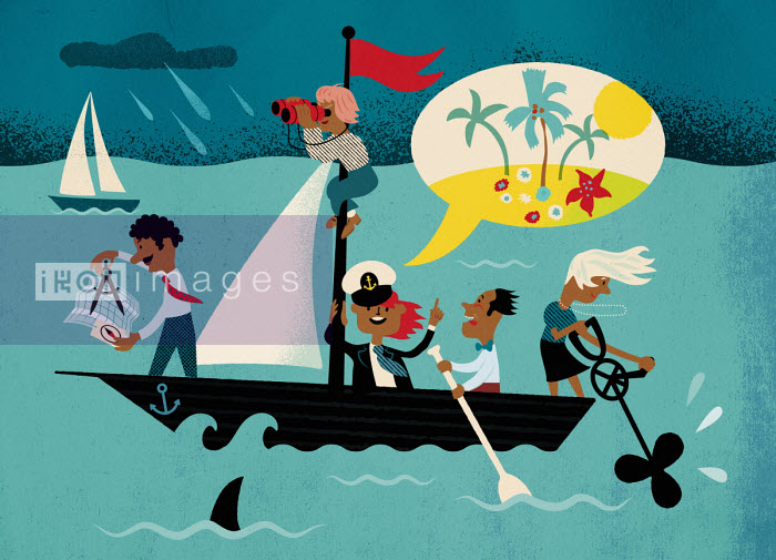Business people working together to steer boat through stormy seas - Jens Magnusson