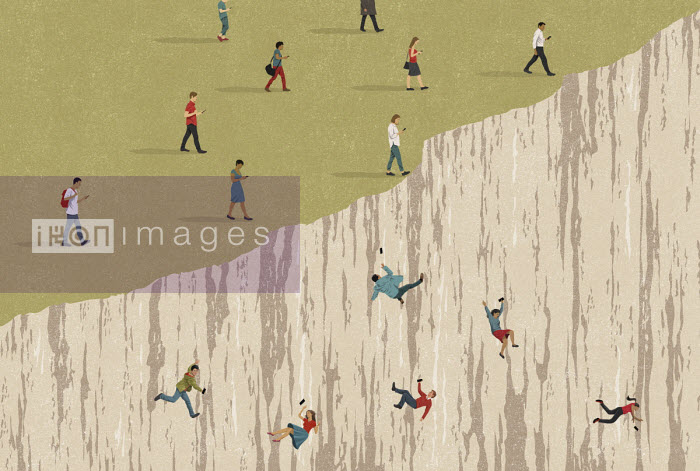 People obsessed with phones falling over cliff - John Holcroft