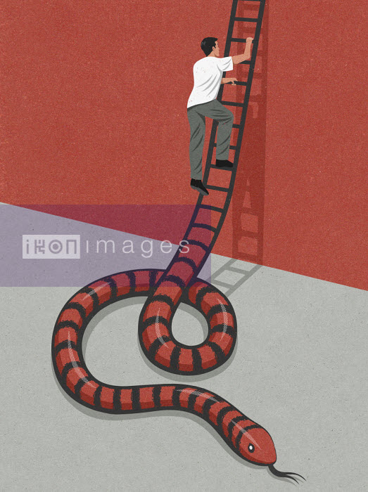 Man climbing ladder and avoiding snake - John Holcroft