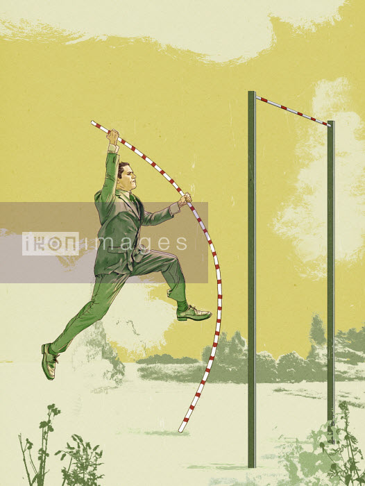 Businessman pole vaulting - Thomas Kuhlenbeck