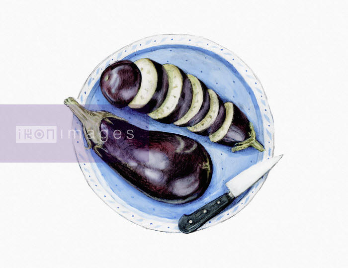 Watercolour painting of sliced aubergine - Katherine Coulton