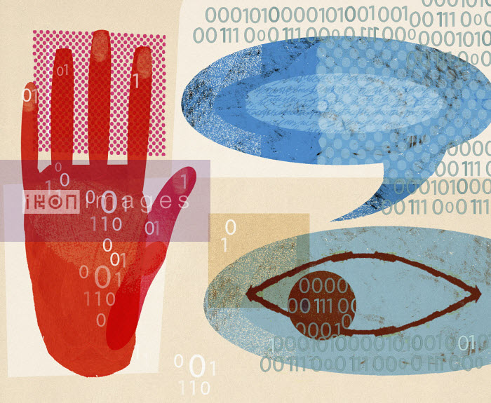 Speech bubble, eye, binary code and stop gesture - Donna Grethen