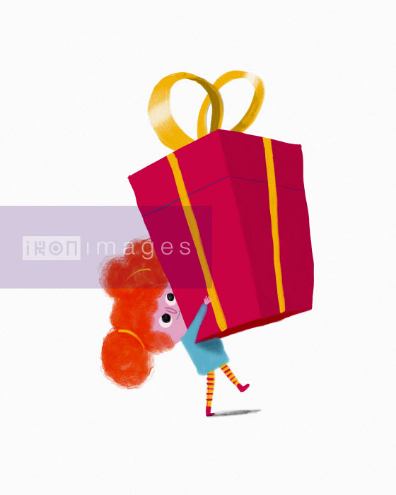 Little girl carrying large present - Benjamin Baxter