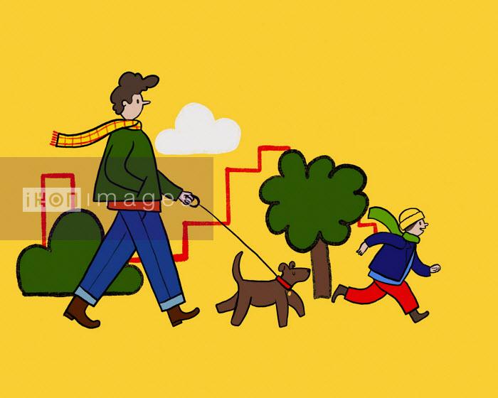 Man with son walking the dog - Benjamin Baxter
