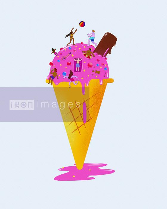 People having fun at seaside on top of ice cream cone - Benjamin Baxter