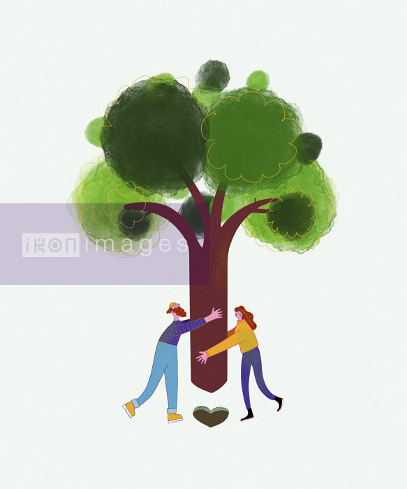Couple planting tree in heart shaped hole - Benjamin Baxter