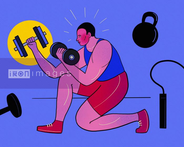 Man using range of fitness equipment - Benjamin Baxter