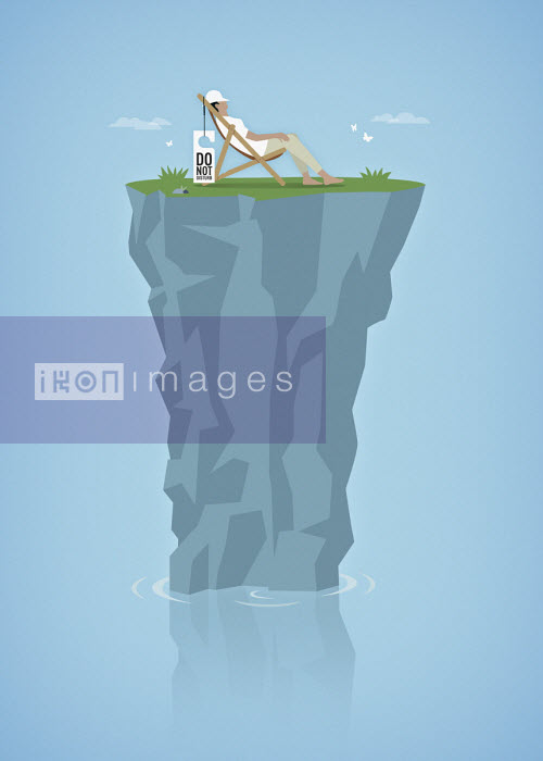 Woman relaxing on top of tiny isolated rocky island peak - Mark Airs