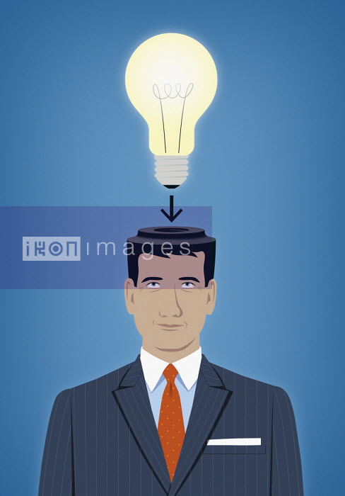 Businessman with light bulb fitting to top of head - Mark Airs
