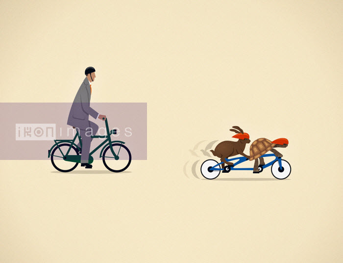Businessman on bicycle behind tortoise and hare together on tandem bicycle - Mark Airs