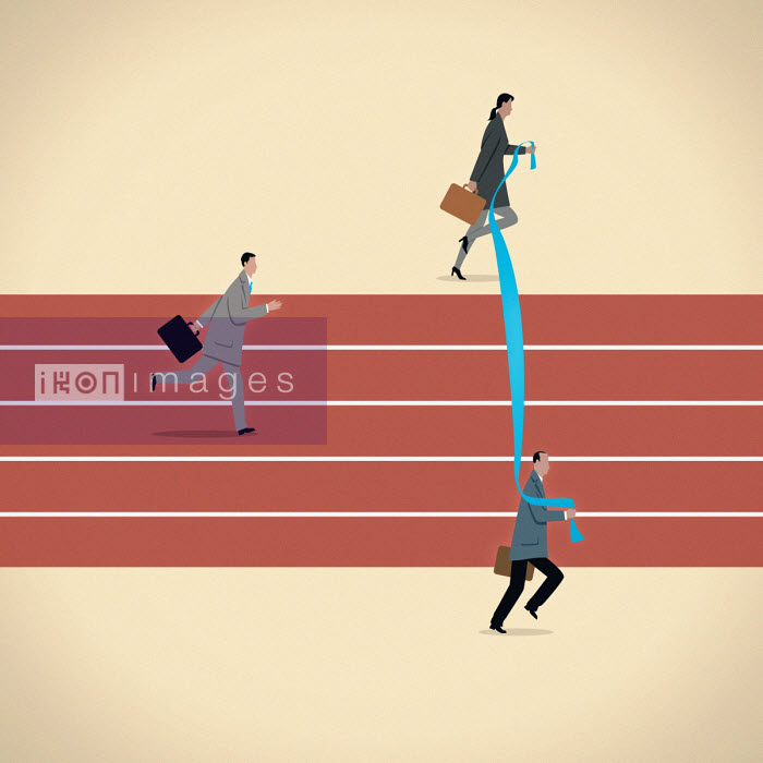 Business people moving finishing line for businessman on running track - Mark Airs