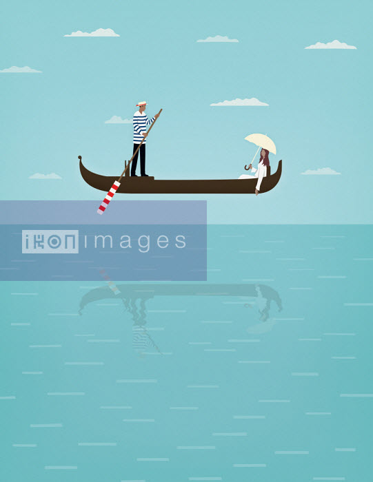 Gondolier and relaxing woman in gondola floating mid-air above the water - Mark Airs