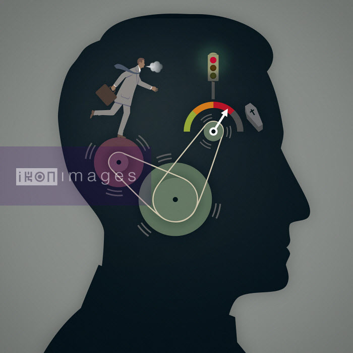 Overworked out of breath businessman running on pulley wheels with red warning gauge inside of profile of man's head - Mark Airs