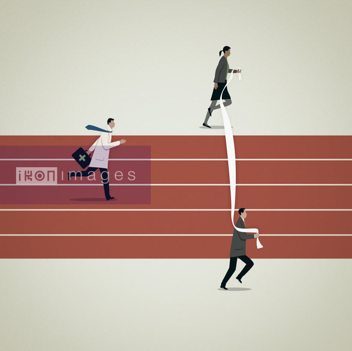 Business people moving finishing line for doctor on running track - Mark Airs