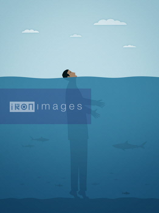 Businessman on tiptoes on seabed with face above water - Mark Airs