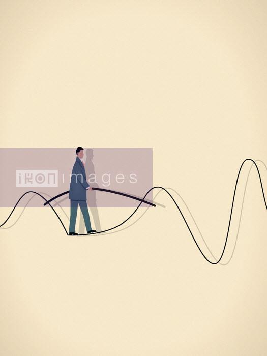 Businessman walking on wavy tightrope - Mark Airs
