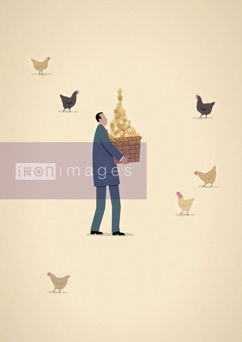 Businessman carrying basket full of chicken eggs - Mark Airs