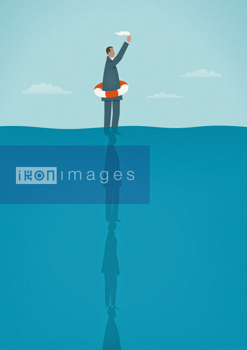 Businessman in ocean waving white flag standing on top of colleagues - Mark Airs