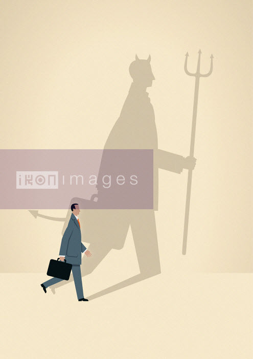 Businessman with large devil shadow - Mark Airs