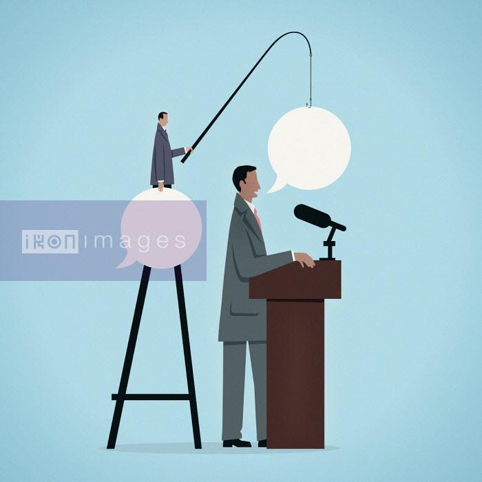 Businessman feeding speaker speech bubbles with fishing rod - Mark Airs