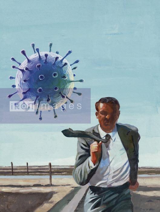 Businessman running away from coronavirus in parody of movie North by Northwest - Jon Berkeley