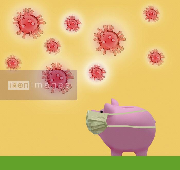 Piggy bank wearing face mask against coronavirus - Gary Waters