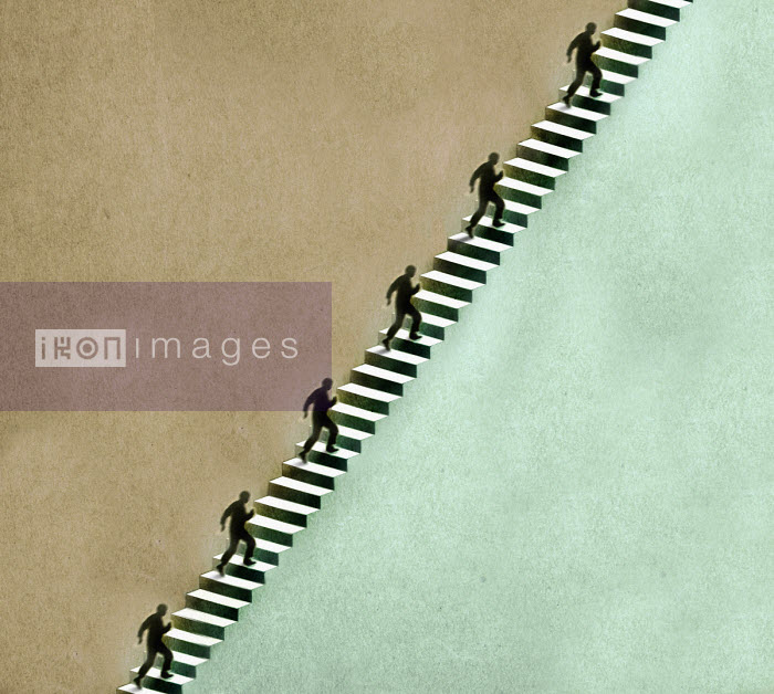 Men running up long staircase - Gary Waters