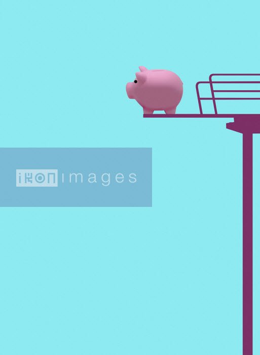 Piggy bank on high diving board - Gary Waters