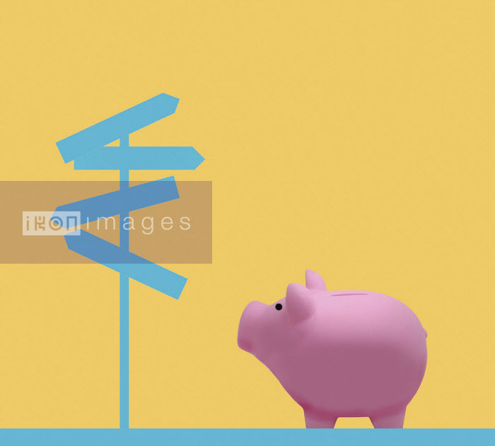 Piggy bank looking at confusing signpost - Gary Waters