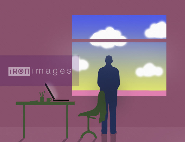 Businessman looking at sky out of office window - Gary Waters
