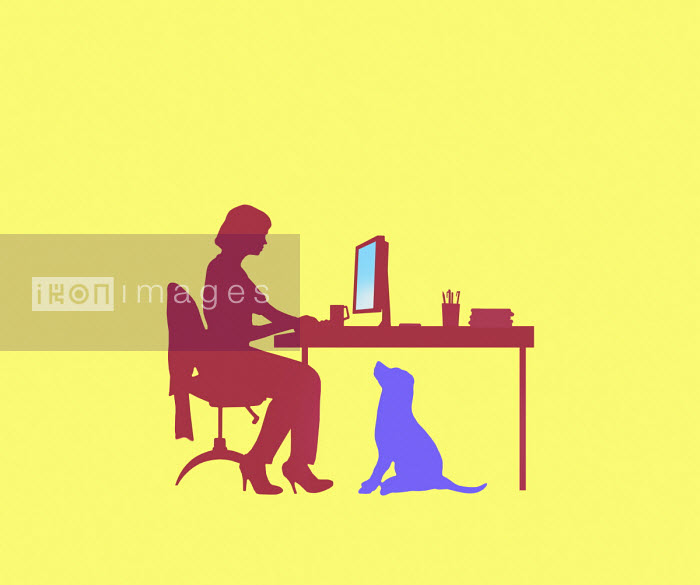 Dog watching woman working from home - Gary Waters