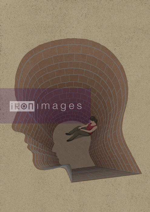Girl trapped at the bottom of head shaped hole - John Holcroft