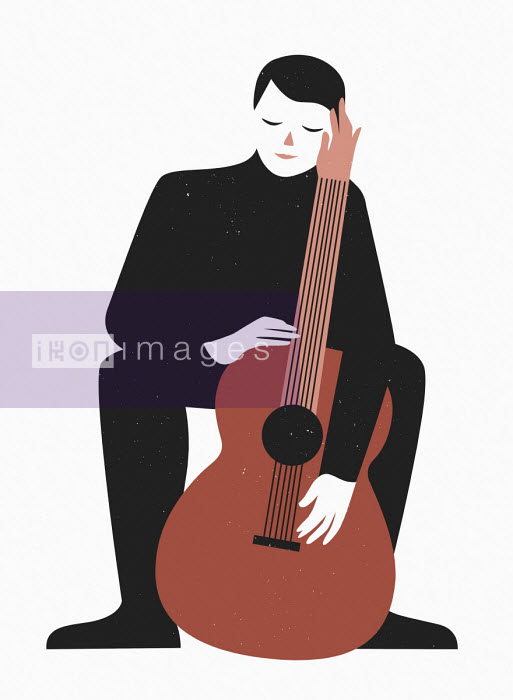 Man being caressed by guitar - Bea Crespo