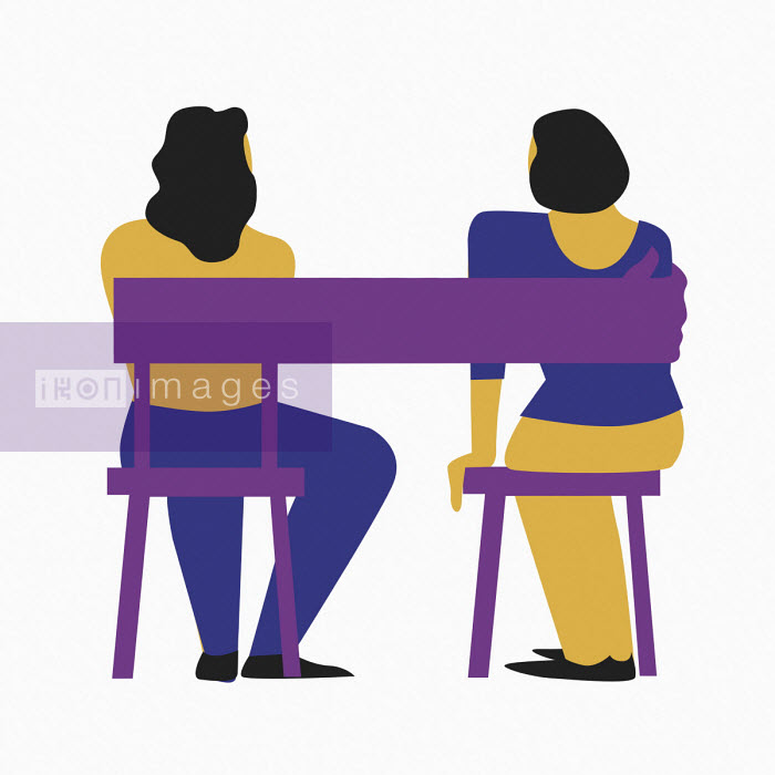 Chair forming arm around two women sitting side by side - Bea Crespo
