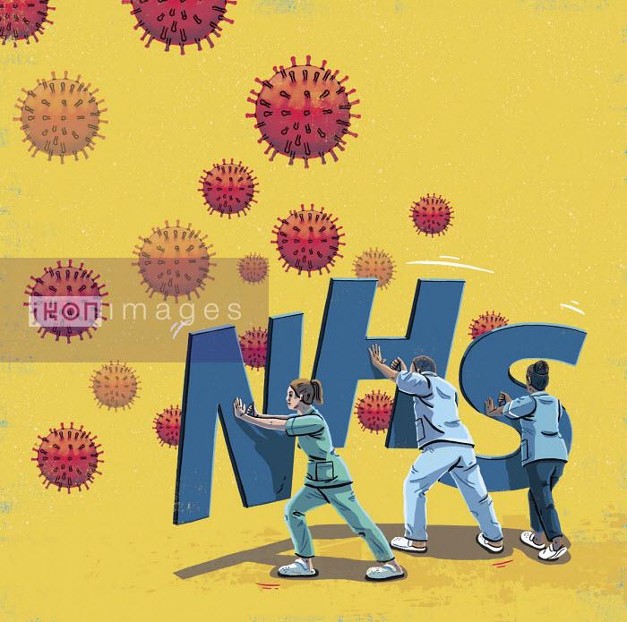 Healthcare workers with NHS shields against coronavirus - Eva Bee