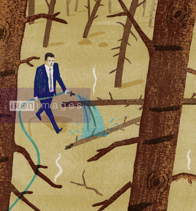 Businessman firefighting in forest - Daniel Haskett