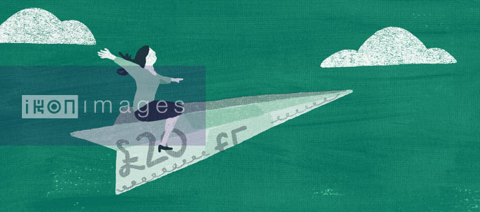 Woman flying on pound banknote paper aeroplane - Daniel Haskett
